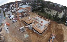 Baugruben für 4 Mehrfamilienhäuser in Langen